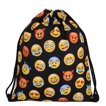 Emoji Funny Faces Drawstring Bags Cinch String Backpack Funky Cute Novelty
