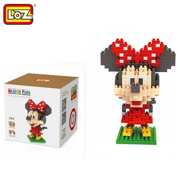 LOZ Single Sale Mini Big Head Minnie Mouse Diamond Bricks Cartoon Doll Building Blocks Toys for Children 9414