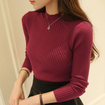 new fashion women turtleneck knitted sweater female knitted slim pullover girls all-match basic thin long-sleeve shirt clothing