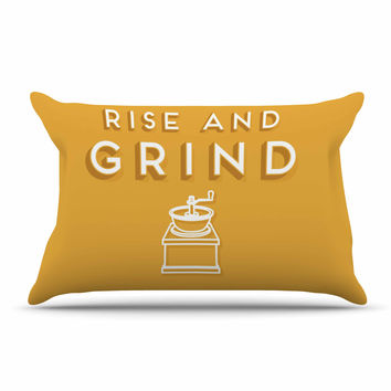 "Busy Bree ""Rise And Grind"" Gold Illustration Pillow Sham"