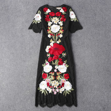 New 2016 spring summer luxury brand runway women black lace dress sexy floral daisy embroidery midi mid-calf dresses Italian HOT