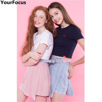 Harajuku kawaii cute lovely belt heart Buckle pink blue side zipper asymmetrical lace up mini plaid skirts culottes YQ-286