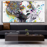 Unframed Modern Wall Graffiti Art Girl with Flowers Oil Painting Prints on Canva