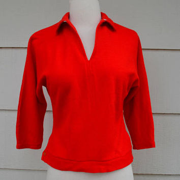 Vintage Red Sweater, Wool Sweater with Key Hole Neckline, Dolman 3/4 Sleeves, Exquisete Girl, AS IS, 1960s