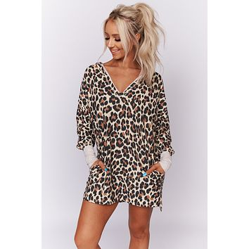 I Know You Leopard Print Hoodie Dress (Taupe/Brown/Black)