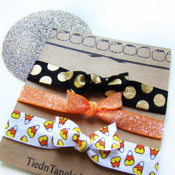 Autumn Hair Ties, Halloween Hair Ties, FOE, Elastic Hair Ties, Seasonal Hair Ties, Candy Corn, Creaseless Hair Ties, Fall Wedding, Gift