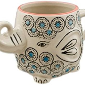 Happy Sales Hand-Painted Elephant Coffee Tea Mug Cups (Blossom)