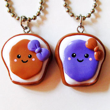 Peanut Butter and Jelly PB&J Best Friends Necklace Set
