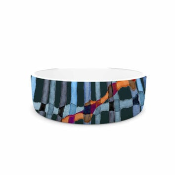"Patternmuse ""Midnight Bamboo"" Multicolor Blue Painting Pet Bowl"