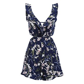 Sexy Plunge Neck Ruffle Backless Floral Print Women Jumpsuit