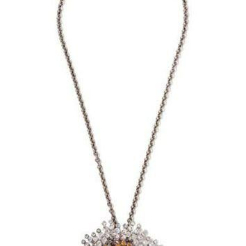 ONETOW balenciaga convertible palladium tone crystal necklace 2