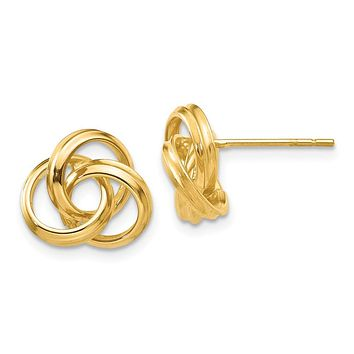 10mm Hollow Love Knot Post Earrings in 14k Yellow Gold