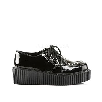 Studded Platform Creeper Rave Shoes with Heart Cutout Design
