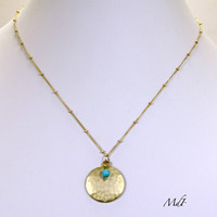 Gold disc & Turquoise necklace