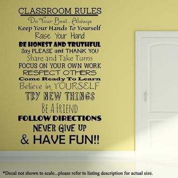 Class Room Rules Wall Decal