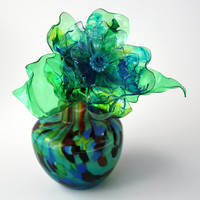 Aqua Blue, Lime Green, Royal Blue Murano Flower and Vase, Single Stem, Chihuly inspired, Perfume Bottle, Recycled Art Plastic