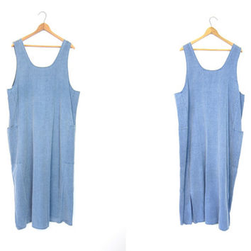 COTTON & LINEN Dress Minimal Pocket Dress Vintage 90s Loose Fit Frock Natural Look Blue Chambray Long Sun Dress Maxi Dress Womens Large