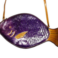 Vintage FISH PURSE Hand Made in Ecuador Purple Fish lots of detail Unique Boho Bohemian Festival Hippie Crossbody Bag