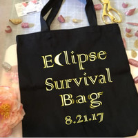 Solar Eclipse 2017 Tote bag, Eclipse Survival bag, Gift bag, Black canvas tote