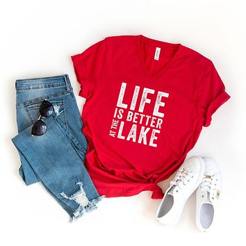 Life is Better at the Lake | V-Neck Graphic Tee