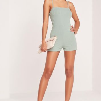 Missguided - Ribbed 90's Neck Romper Duck Egg Blue