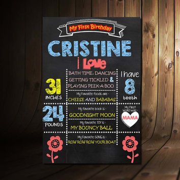 0012 Chalkboard First Birthday Invitation