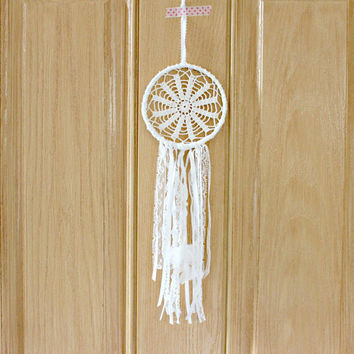 Boho Dreamcatcher,OOAK,White,Vintage Doily,Pearls,Home Decor,Neutral Color Scheme, Nursery Mobile, Wedding Decor, Small, Gift Idea for women