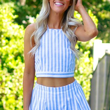 Pleated Striped Shorts Blue