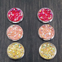 Druzy earring set-  Sunrise drusy stud set - druzy earrings