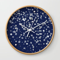 Snowflakes in space Wall Clock by anipani
