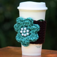 Brown with Teal Flower Cup Cozy