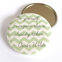 Oscar Wilde Pocket Mirror with Chevron Design