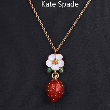 Kate Spade New fashion floral leaf strawberry pendant necklace Golden