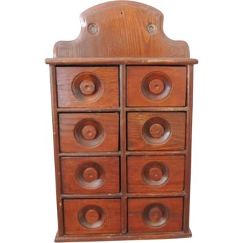 Antique Apothecary Herb Spice Cabinet Box 8 Drawer