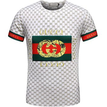 GUCCI male tide brand fashion short-sleeved F-A00FS-GJ White