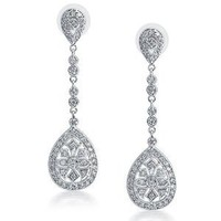 Bling Jewelry CZ Teardrop Bridal Chandelier Earrings Rhodium Plated