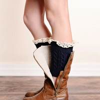 Vintage Lace Trim Cable Knit Boot Cuffs Navy Blue Ankle Socks