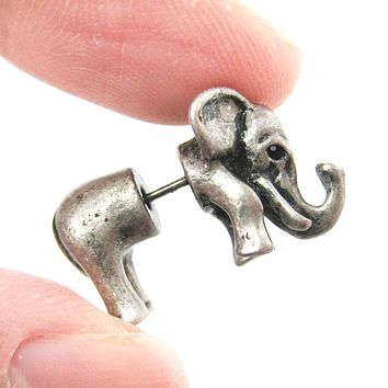 Fake Gauge Earrings: Elephant Shaped Animal Plug Earrings in Silver