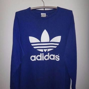 Vintage Adidas Long Sleeve Double Side Big Logo 1990s T Shirt Streetwear Fashion GRUNG