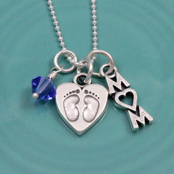 New baby mother's necklace - birthstone - Sterling Silver - mothers gift - baby feet - footprints charm - Swarovski crystal