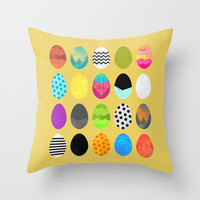 Easter eggs Throw Pillow by Elisabeth Fredriksson