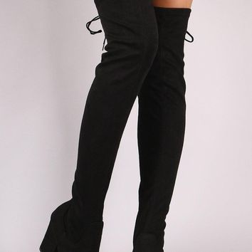 Qupid Stretchy Suede Chunky Heeled Over-The-Knee Boots