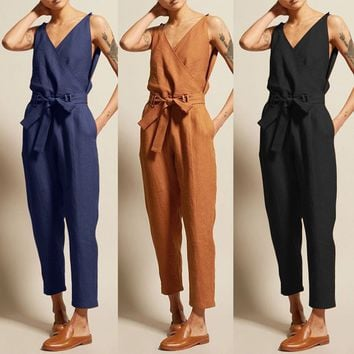 WOMAIL Fashion Women's Jumpsuits Summer Casual Solid Sleeveless V-Neck Belt Slim Plus Size Linen Lace Up Long Jumpsuit APR30
