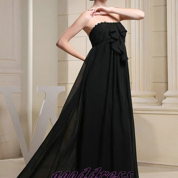 Custom Made Pretty Black Empire Appliques Bows Chiffon Floor Length Formal Long Evening/Prom/Party/Bridesmaid/Homecoming/Cocktail Dress Gown