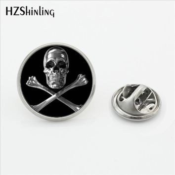 2017 New Trendy Skull and Bones Brooch Pins Steampunk Round Glass Photo Skull Jewelry Stainless Steel Lapel Pins
