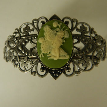 Fairy Cameo Filigree Cuff Bracelet Antique Silver Cameo Sprite Green Ivory Adjustable