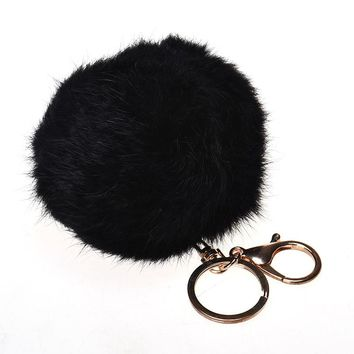 2017 Hot Trinket Keychain Pompons Keychains Pendant Fluffy Rabbit Fur Ball Plush Key Chains for Car Keyrings Cell Phone Handbag