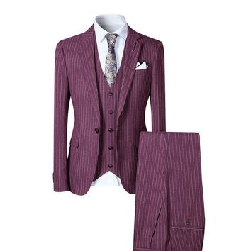 stylish men suit 3 pieces single one button striped suits wedding party business casual style slim fit