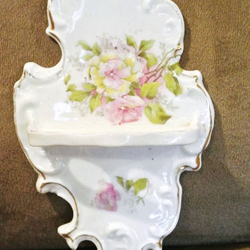 RS Prussia Victorian Toothbrush Holder Floral Transfer Hand Painted Hard To Find Rare Early 1890s Antique Porcelain Victorian Era Germany