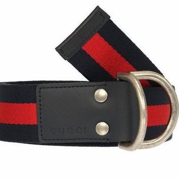 NEW GUCCI WEB CANVAS LOGO BELT W/ D- RING BUCKLE BELT 105/42 100% AUTHENTIC!!!